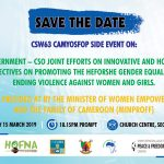 SIDE EVENT: SHOWCASING GOVERNMENT – CSOS JOINT EFFORTS ON INNOVATIVE AND HOLISTIC PERSPECTIVES ON THE HEFORSHE GENDER EQUALITY AND ENDING GENDER BASED VIOLENCE (GBV).